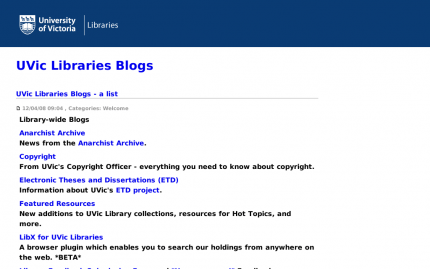 UVic Libraries Blogs