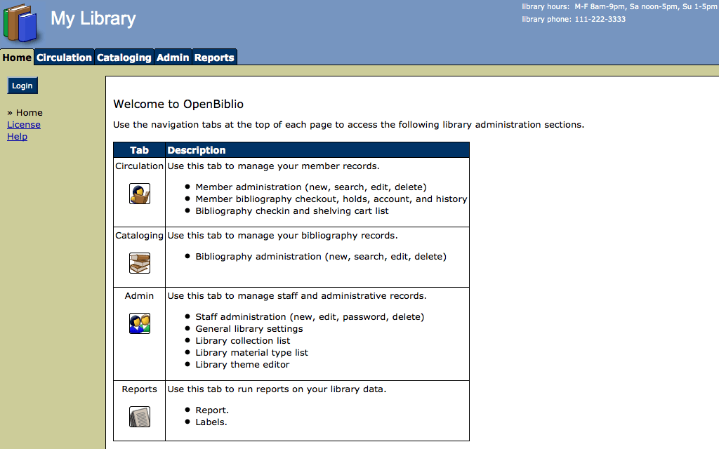 Hébergement OpenBiblio
