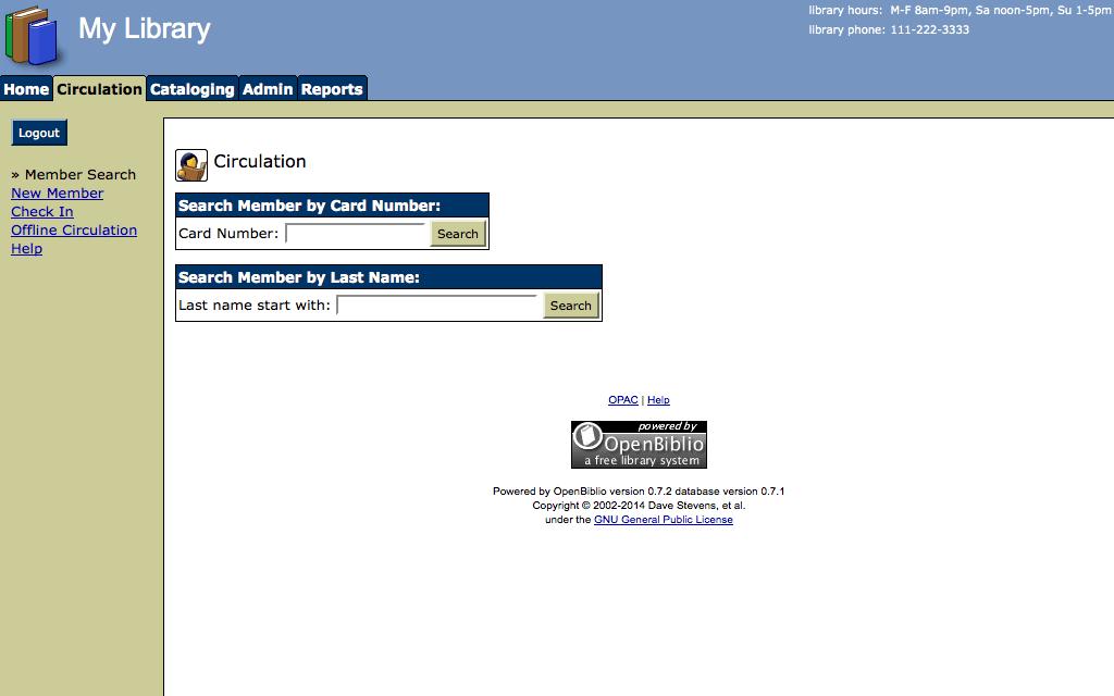 Alojamiento OpenBiblio